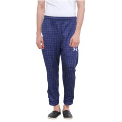 Mens Comfortable Check StyleTrouser Blue